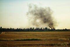Fire Field Landscape Stock Photo