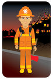 Fire Fighter. Vector illustration of a fireman in uniform Stock Photo