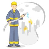 Fire Fighter. Vector illustration of fire fighter stopping fire flame Stock Photo