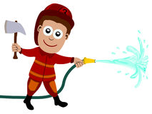Fire fighter. Cute cartoon fire fighter holding an axe, and a hose with water coming out of it stock illustration