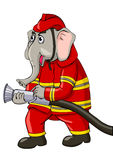 Fire Fighter. Cartoon illustration of an elephant as a firefighter Royalty Free Stock Photo