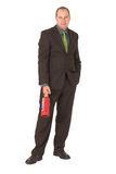 Fire fighter. Businessman ready to put out fires Royalty Free Stock Images