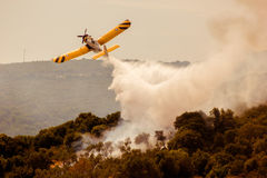 Fire fighter airplane, Greece. Fire fighter airplane in the sky over the forest, Zakynthos royalty free stock photo