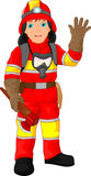 Fire fighter cartoon waving Royalty Free Stock Images