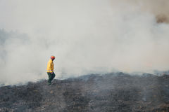 Fire fighter crossing charred terrain. BOYARKA, UKRAINE - 27 MART 2015: Firefighter or firemen on agriculture land after fire. It was demonstration training of Stock Photos