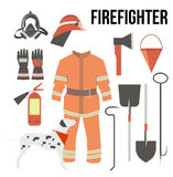 Fire-fighter elements set collection. firefighter mask, helmet,. Axe, gloves, hose, fire extinguisher and other Royalty Free Stock Photos