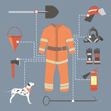 Fire-fighter elements set collection. firefighter mask, helmet,. Axe, gloves, hose, fire extinguisher and other Royalty Free Stock Photo