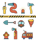 Fire-fighter elements set collection, vector illustration icons.  Royalty Free Stock Images