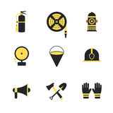 Fire fighter and emergency rescue icons set  illustration for mobile, web and applications. Royalty Free Stock Photography