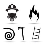 Fire fighter equipment icons vector set  on white background. Black silhouette of fire fighter, hydrant, axe and ladder Stock Image