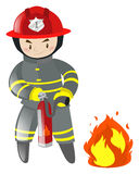 Fire fighter with extinguisher. Illustration Royalty Free Stock Photo