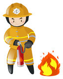 Fire fighter fighting with fire. Illustration Stock Photography