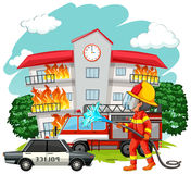 Fire fighter at fire scene Royalty Free Stock Photography