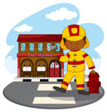 Fire fighter and fire station. Illustration Stock Photo