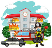 Fire fighter at the fire station Royalty Free Stock Photos