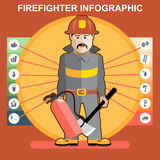 Fire fighter in fire suit man. Presenting an infographics Royalty Free Stock Photo