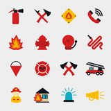 Fire fighter flat icons. Set. Equipment protection, flame and extinguisher, vector illustration Royalty Free Stock Image