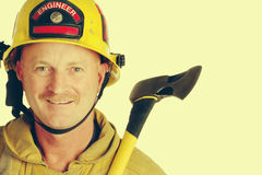 Fire Fighter Holding Axe Royalty Free Stock Images