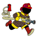 Fire fighter holding a hose. Silhouette-man at work - Fire fighter holding a hose Royalty Free Stock Photography