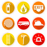 Fire Fighter Icons. 9 Easy-To-Use Fire Fighter Flat Icons Designed as Red & Yellow Theme With Long Shadow Stock Photography