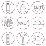 Fire Fighter Icons Line. 9 Easy-To-Use Fire Fighter Line Icons Designed as Black & White Theme Stock Photography