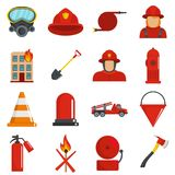 Fire fighter icons set isolated. Fire fighter icons set. Flat illustration of 16 fire fighter icons isolated on white stock illustration