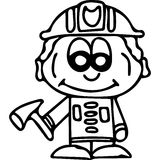 Fire fighter kids coloring page Stock Photo