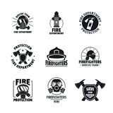 Fire fighter logo icons set, flat style. Fire fighter logo icons set. Simple illustration of 16 fire fighter vector icons for web Stock Images