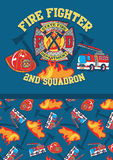 Fire fighter 2nd squadron. Vector illustration of fire fighter equipment with a matching repeat pattern Stock Photo