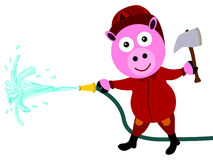 Fire fighter pig. Illustration of a pig with a fire fighter's job Stock Images