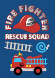 Fire fighter rescue squad. Vector illustration of a Fire fighter truck and equipment Stock Photo