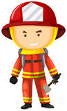 Fire fighter in safety uniform. Illustration Stock Images