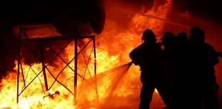 Fire fighter silhouettes 6 Royalty Free Stock Image