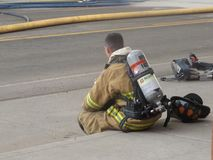 Fire fighter sitting this one out stock photos