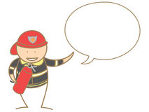 Fire fighter talking in bubble. Cartoon fire fighter talking in bubble Royalty Free Stock Photography