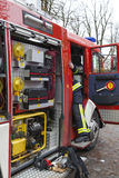 Fire-fighter truck equipment, close-up Stock Images