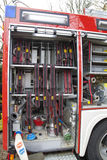 Fire-fighter truck equipment, close-up Stock Photo