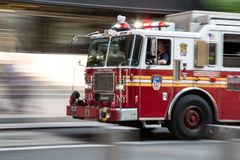 Free Fire Fighter Truck On Emergency Royalty Free Stock Image - 130875576