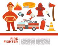 Fire fighter with work equipment on promotional poster. Car with water hose, sharp axe, fire extinguisher, simple loud speaker and bright flame  cartoon flat Royalty Free Stock Photo