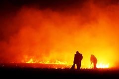 Fire fighters. Team of two firemen fighting a fire in a field Stock Photo