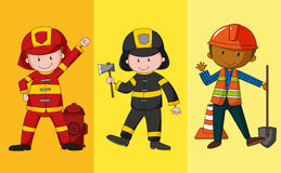 Fire fighters and construction worker. Illustration Royalty Free Stock Photo