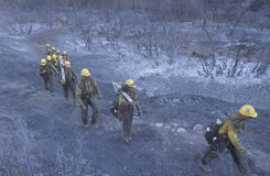 Fire fighters crossing charred terrain, Los Angeles Padres National Forest, California Stock Images