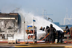 Fire fighters exercise stock images