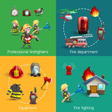 Fire Fighters 4 Icons Square Composition. Fire fighters department service uniform and accessories 4 cartoon icons square composition banner abstract  vector Stock Photos