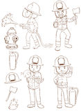 Fire fighters. Illustration of fire fighters and equipments Stock Photo