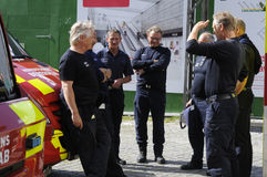 FIRE FIGHTERS IN MEETING Stock Photo