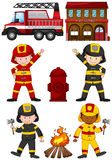 Fire fighters and other equipments Royalty Free Stock Photo
