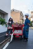 Fire Fighters prepare Fire extinguisher during Fire Alarm in Kyoto Japan on 14 July 2016 Royalty Free Stock Photos