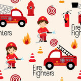 Fire fighters seamless pattern. Firefighters seamless pattern with fire related icons specially for fabric patterns Royalty Free Stock Photography