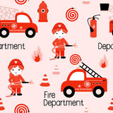 Fire fighters seamless pattern. Firefighters seamless pattern with fire related icons specially for fabric patterns Royalty Free Stock Photo